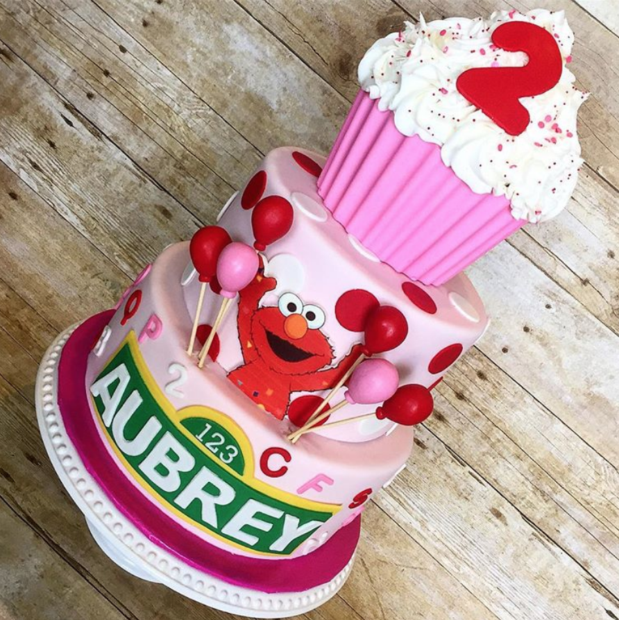 Girly Elmo Cake by Rebeccas Cakes