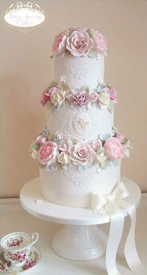 Flowers Lace Wedding Cake