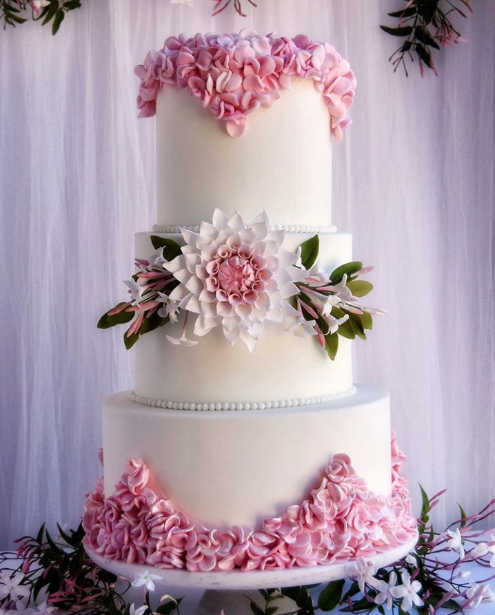 Pink Ruffles Wedding Cake