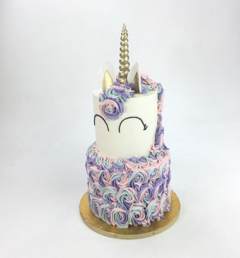 Tricolor Rosettes Unicorn Cake