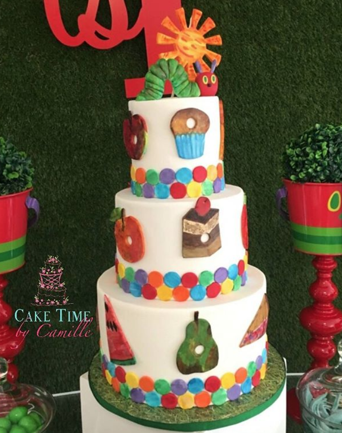 Three-Tiered Very Hungry Caterpillar Birthday Cake