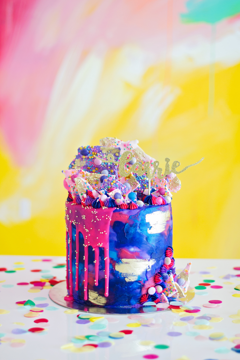Color Burst Drip Birthday Cake