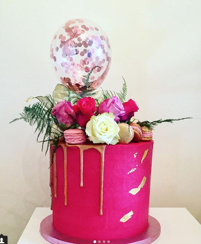 Fuchsia Drip Cake
