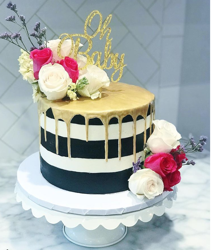 Kate Spade Inspired Baby Shower Drip Cake