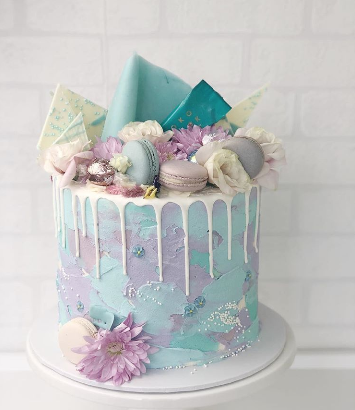 Lilac & Blue Engagement Drip Cake