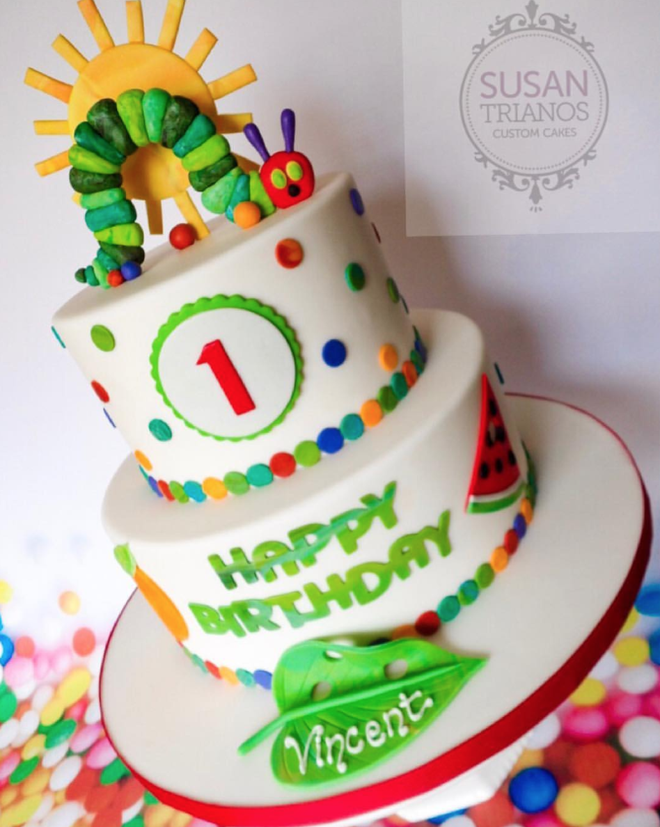 The Colorful Very Hungry Caterpillar Birthday Cake
