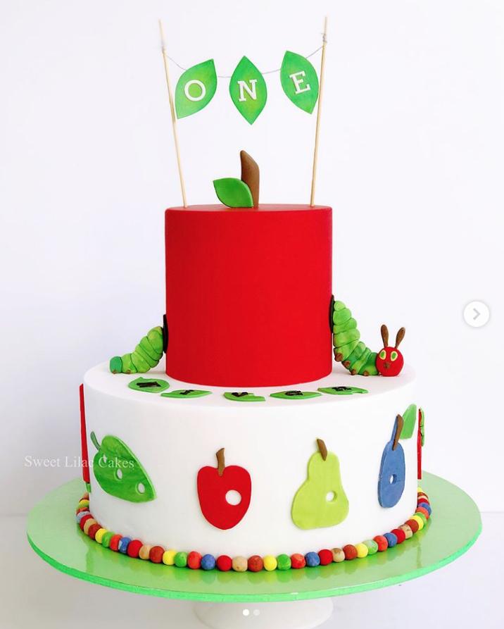 Very Hungry Caterpillar Red Top Tier Birthday Cake