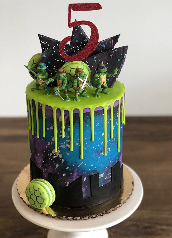 Teenage Ninja Turtles Birthday Drip Cake