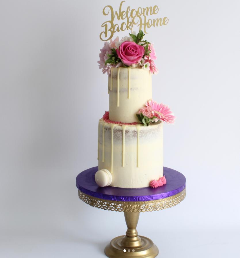 Welcome Back Home Drip Cake