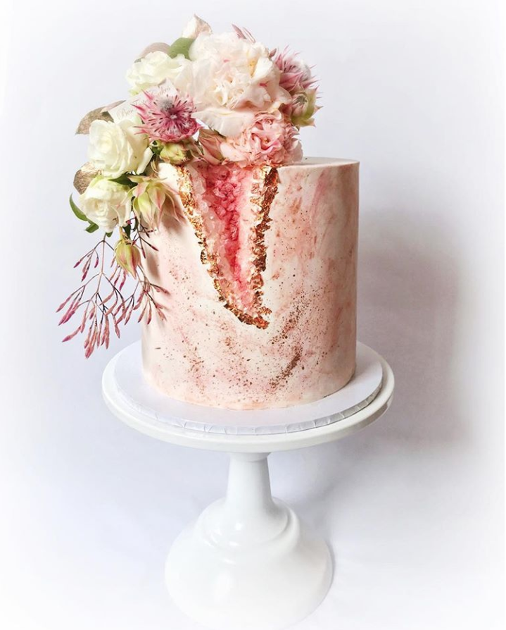 Dreamy Floral Geode Cake