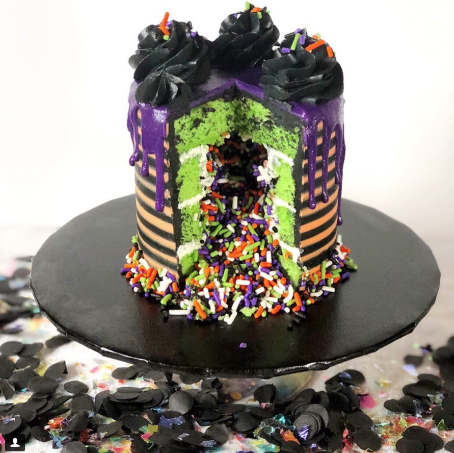 Inside of Halloween Striped Cake