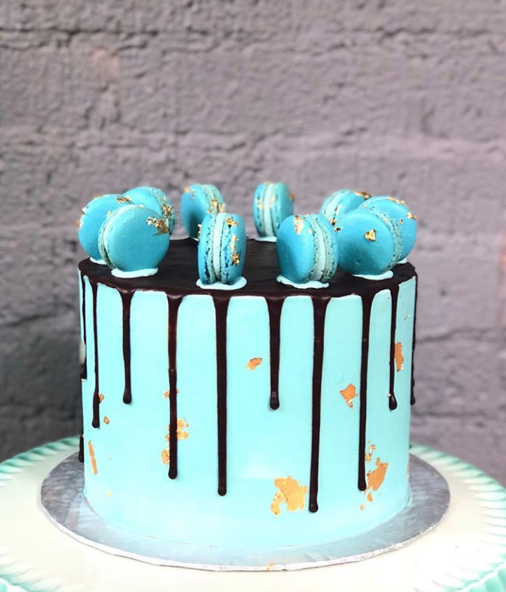 Blue and Gold Macaron Drip Cake