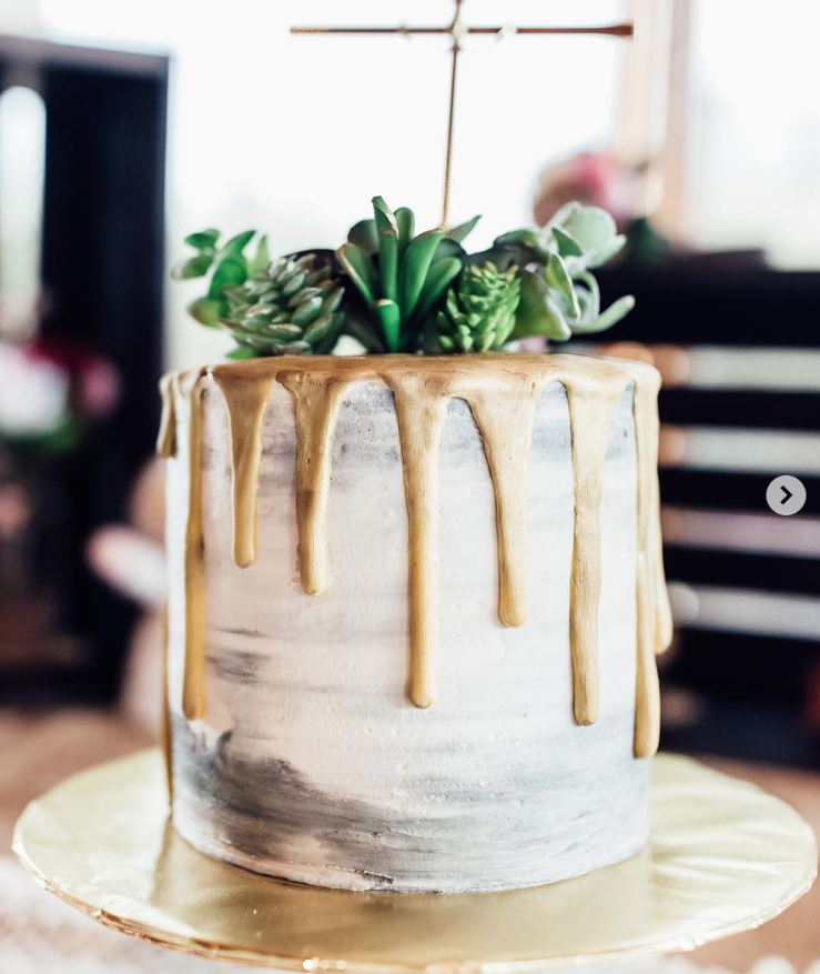 Succulents & Gold Drip Wedding Cake