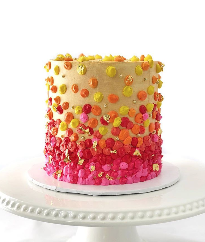 Sunset Colored Dot Cake