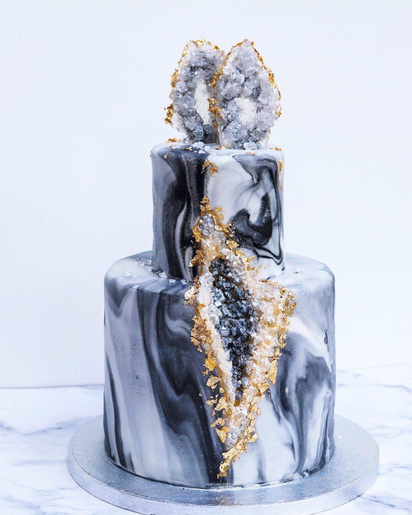 Black & Gray Geode Cake