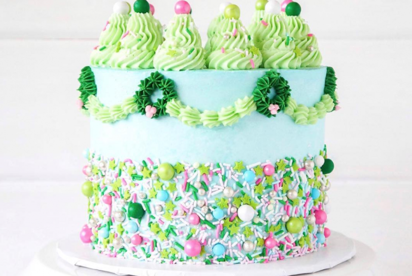 Green Christmas Cake