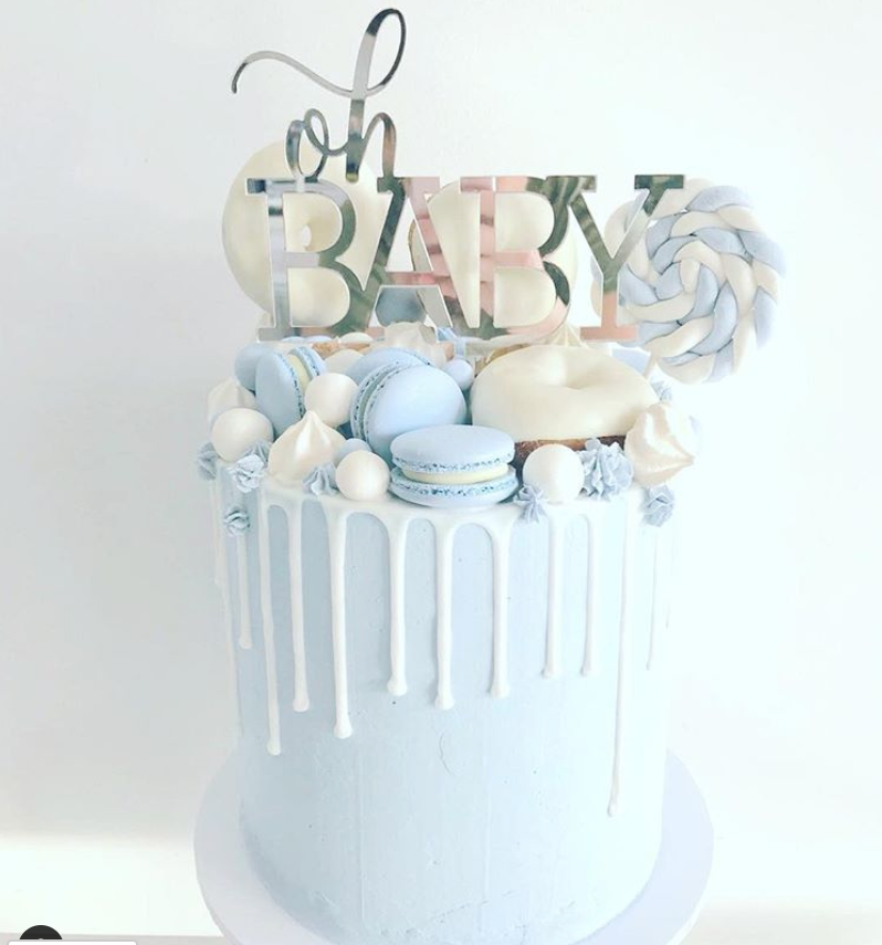 Shades of Blue Baby Shower Cake