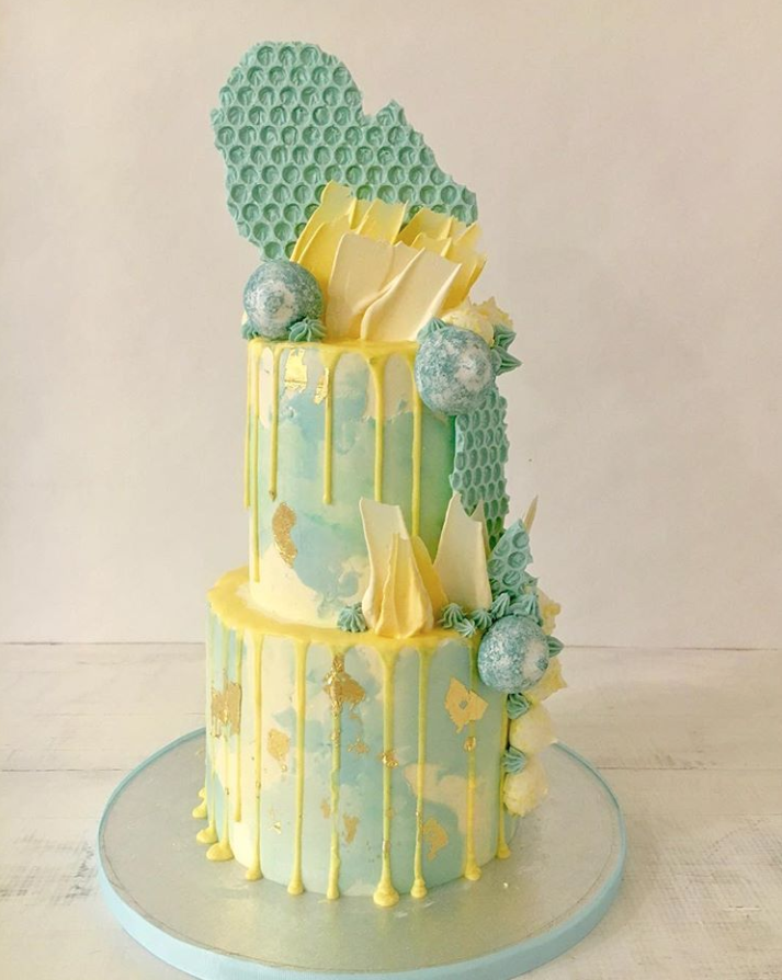 Blue & Yellow Watercolor Cake