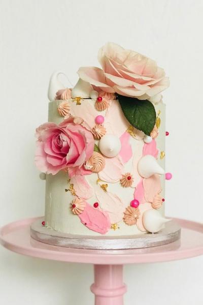 Brushstroke Christening Cake