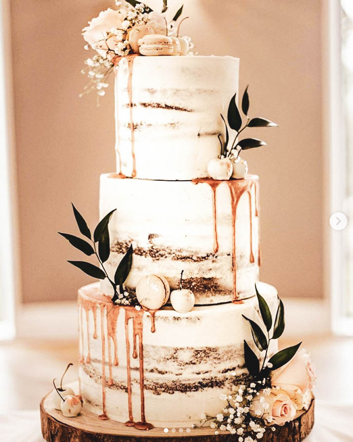 Copper, Blooms & Cherries Semi-Naked Cake