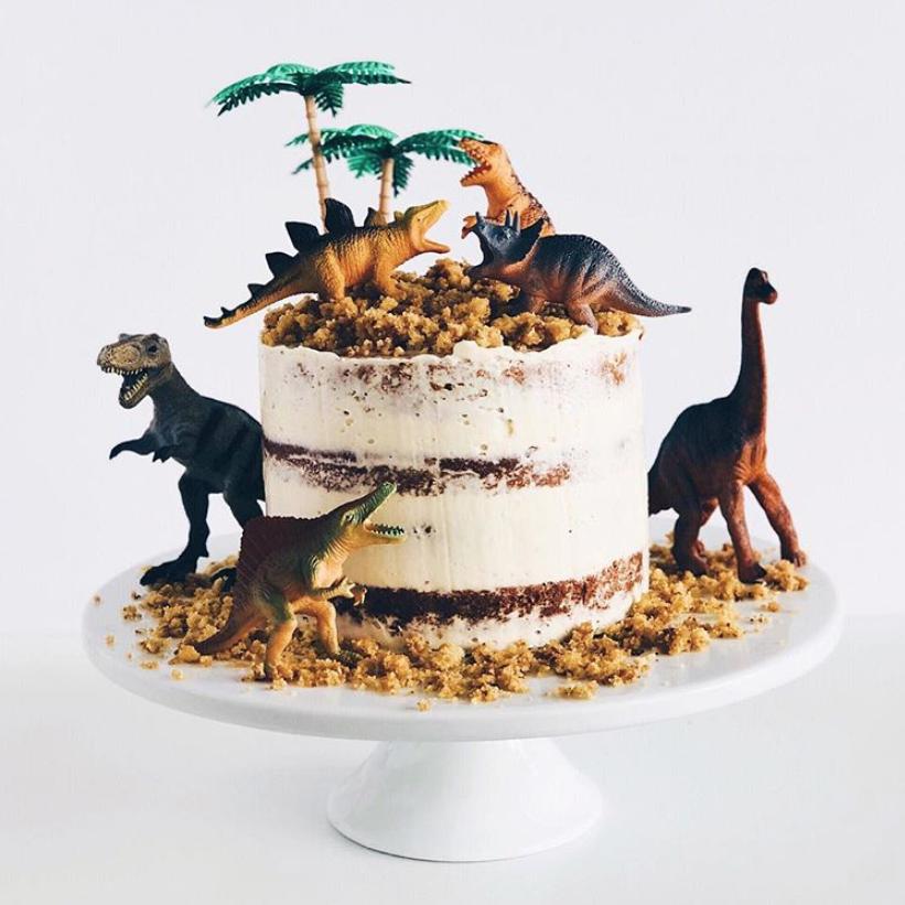 Dinosaur Semi-Naked Birthday Cake
