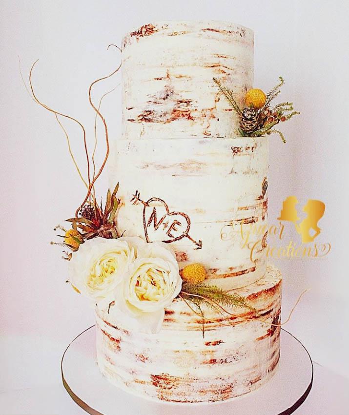 Forever In Love Semi-Naked Wedding Cake