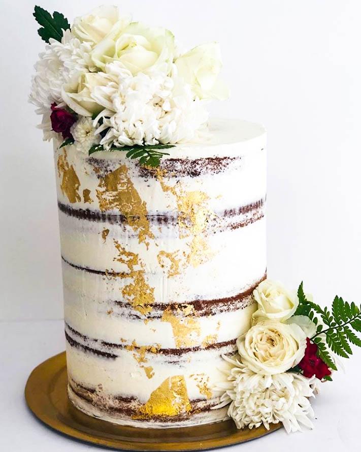 White Blooms & Gold Semi-Naked Wedding Cake