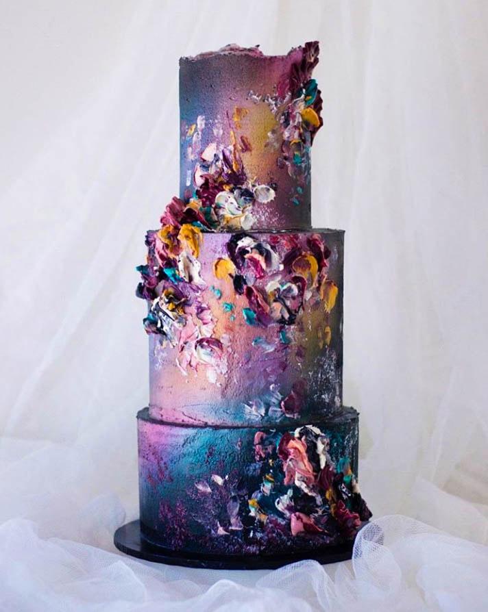 Buttercream Painted Wedding Cake