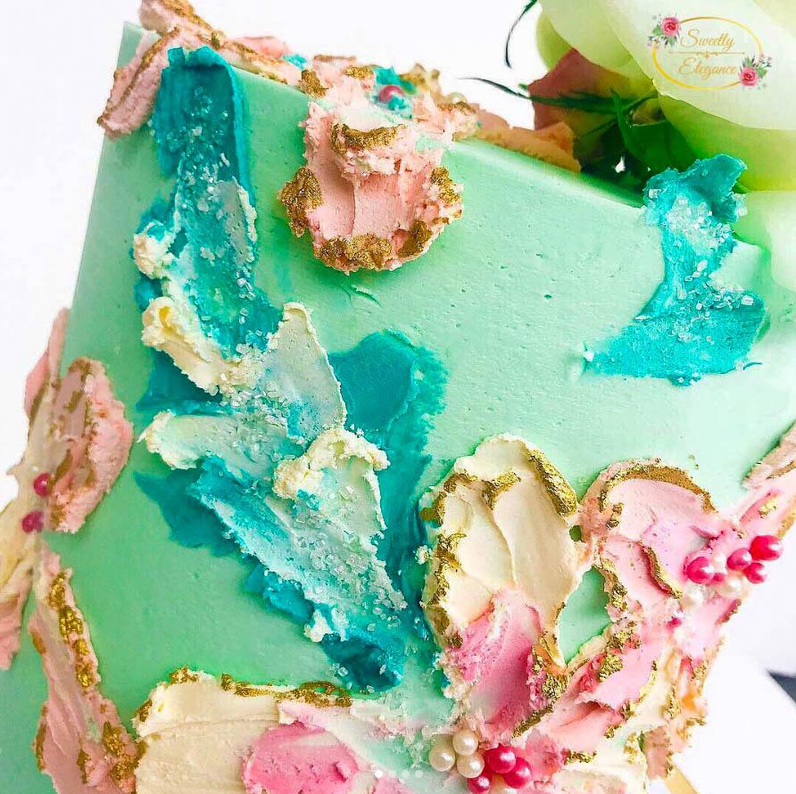 Buttercream Flower Cake Close Up