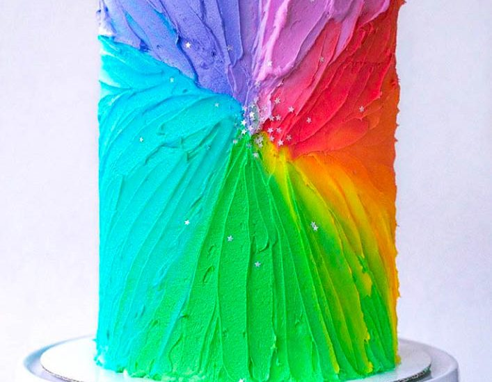 Color Burst Buttercream Cake