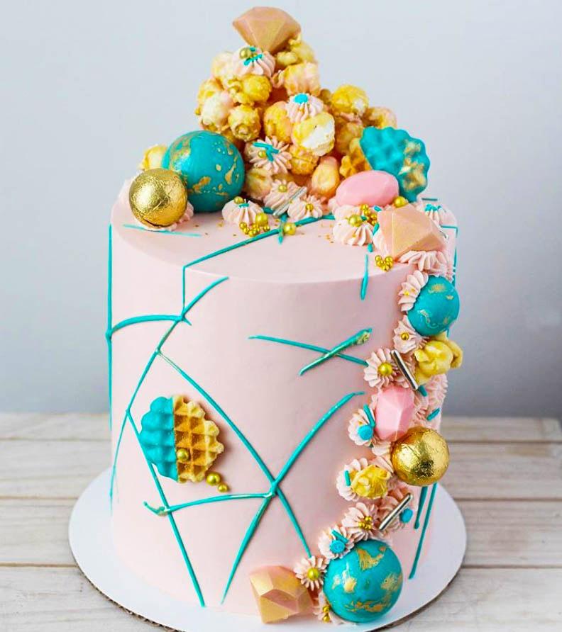 Turquoise & Pink Birthday Cake