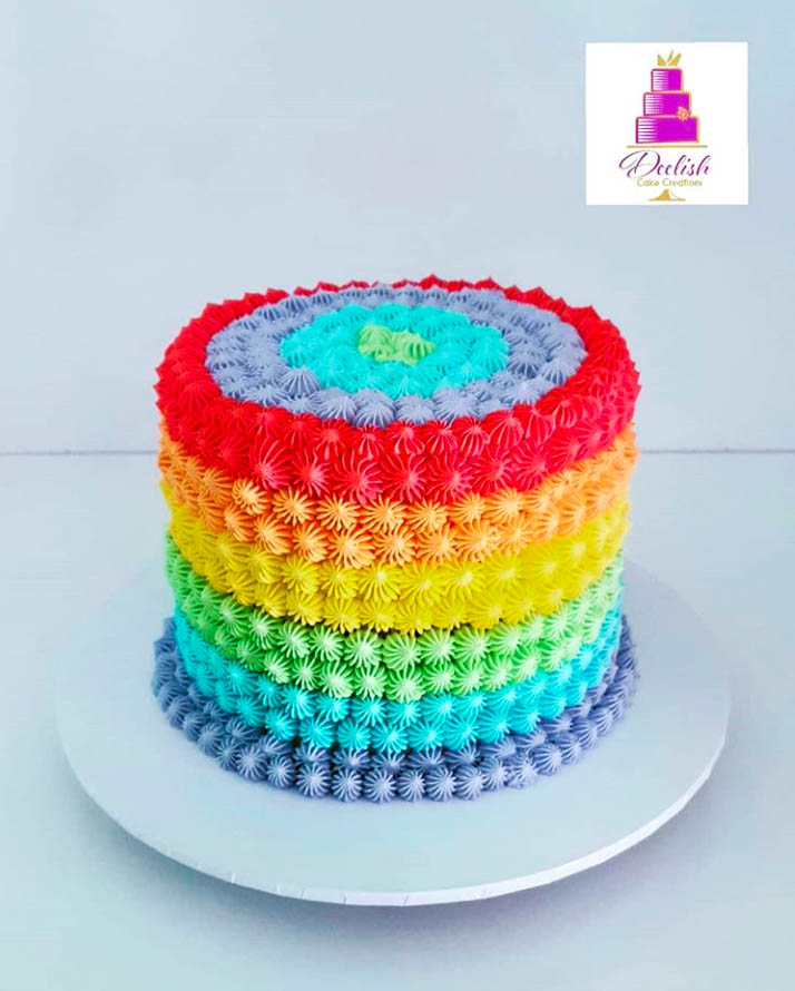 Buttercream Piped Rainbow Cake