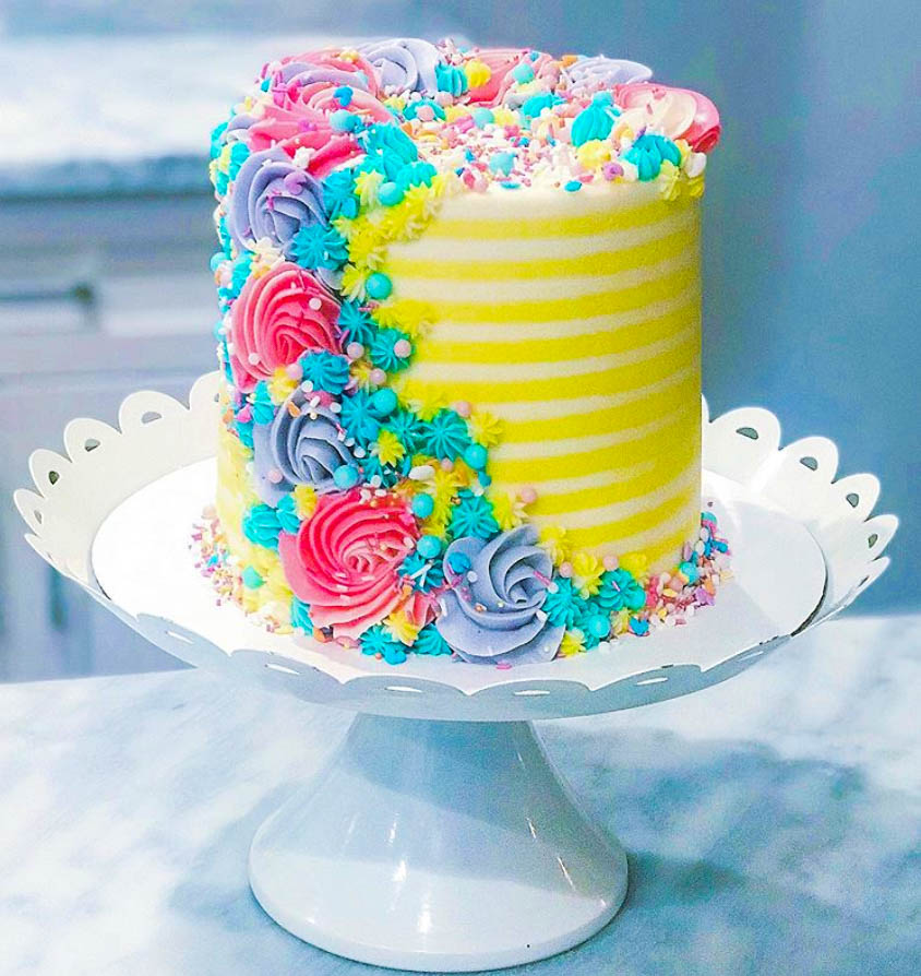 Spring Colors Buttercream Cake