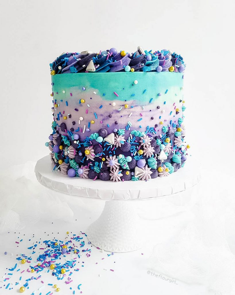 Purple & Teal Sprinkle Cake