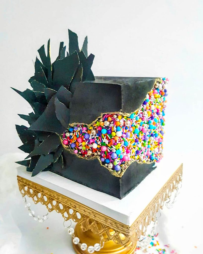 Square Sprinkle Geode Cake