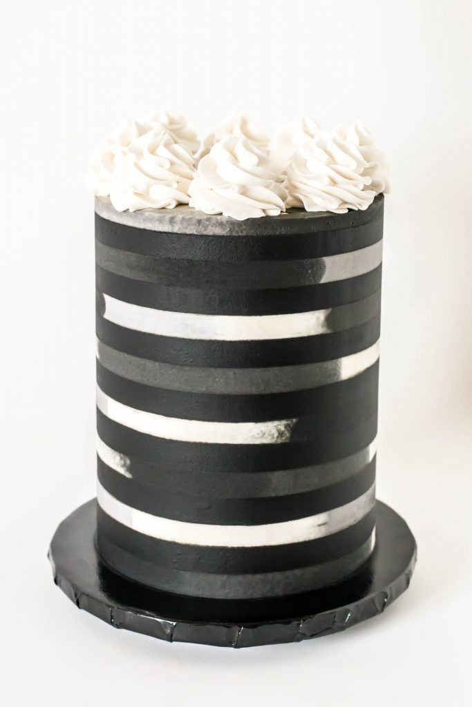 Grayscale Striped Cake