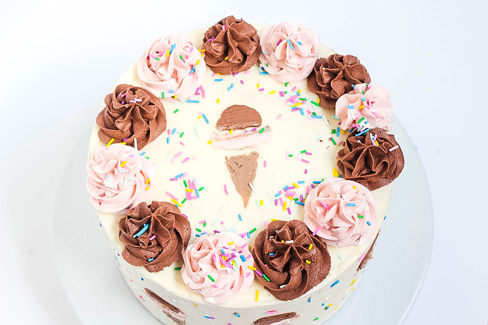 Top View of Neapolitan Cake