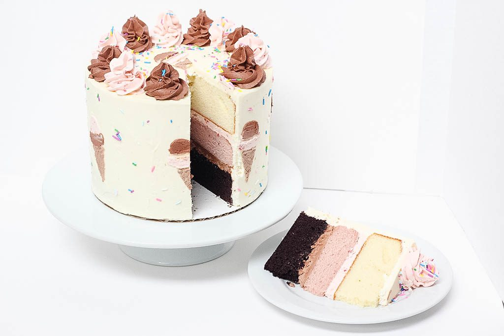 Neapolitan Cake with a Slice
