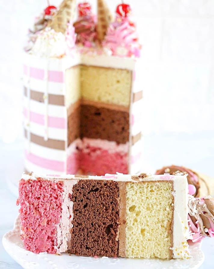Neapolitan Striped Ice Cream Cake Guts