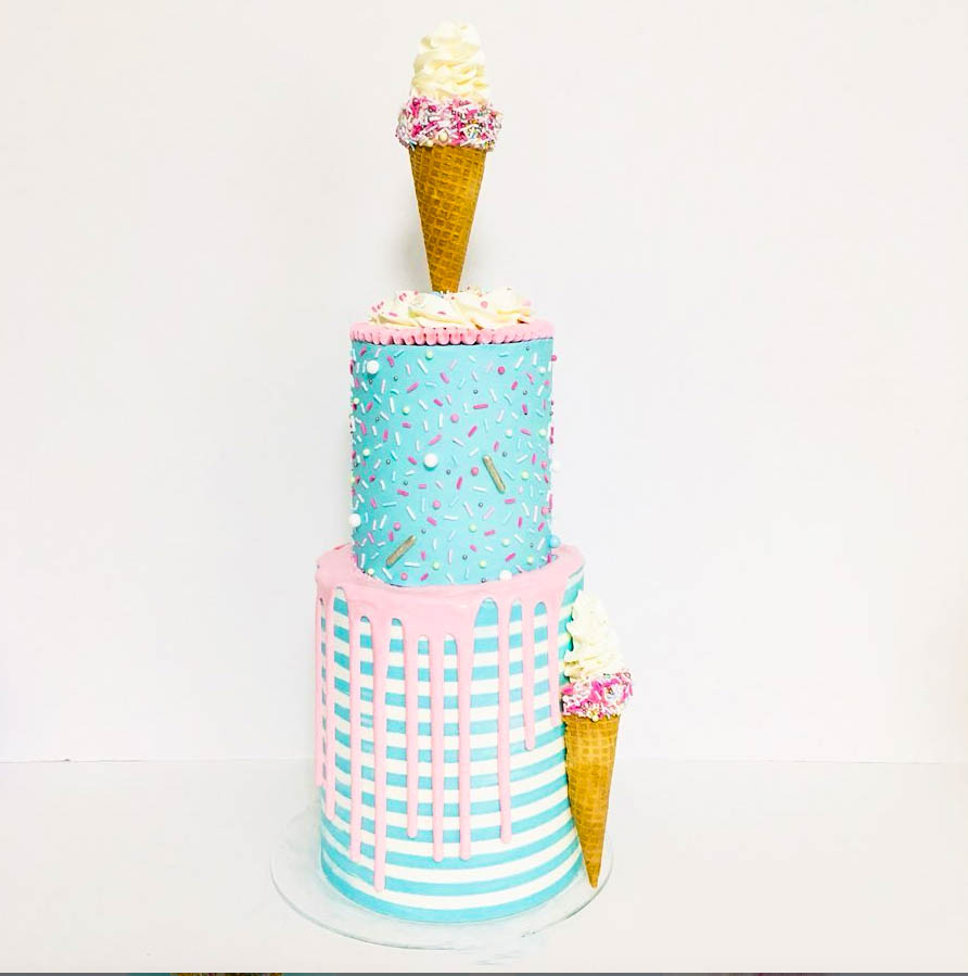 Towering Ice Cream Cake