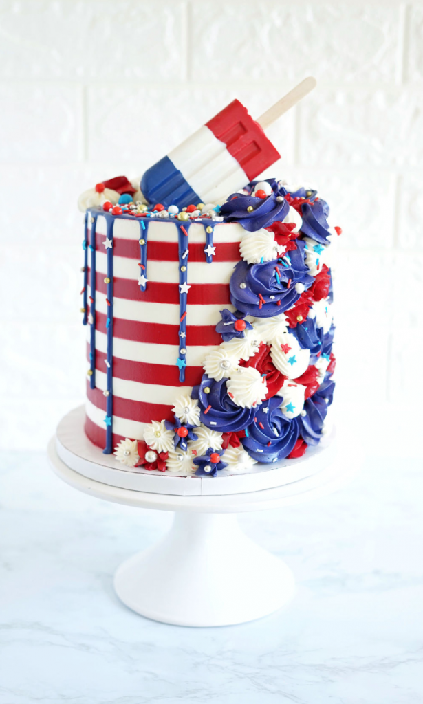 4th of July Popsicle Striped Cake | www.findyourcakeinspiration.com