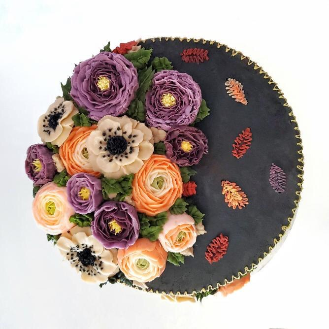Top View of Autumn Buttercream Flowers