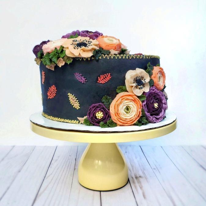 Autumn Buttercream Flowers Cake