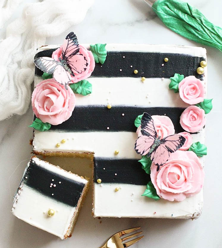 Butterfly Square Birthday Cake by @christinascupcakes | www.findyourcakeinspiration.com