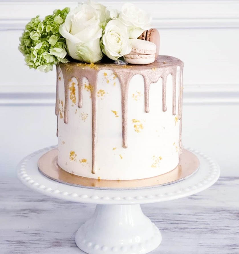 Rose Gold Drip Birthday Cake by @santiniminisweets | www.findyourcakeinspiration.com