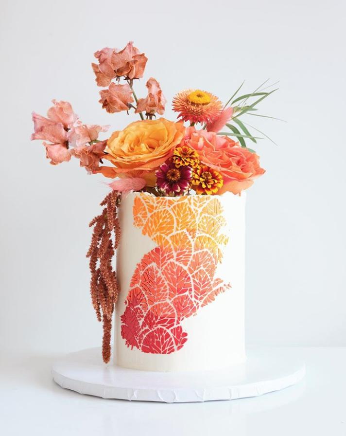 Autumn Stencil Cake