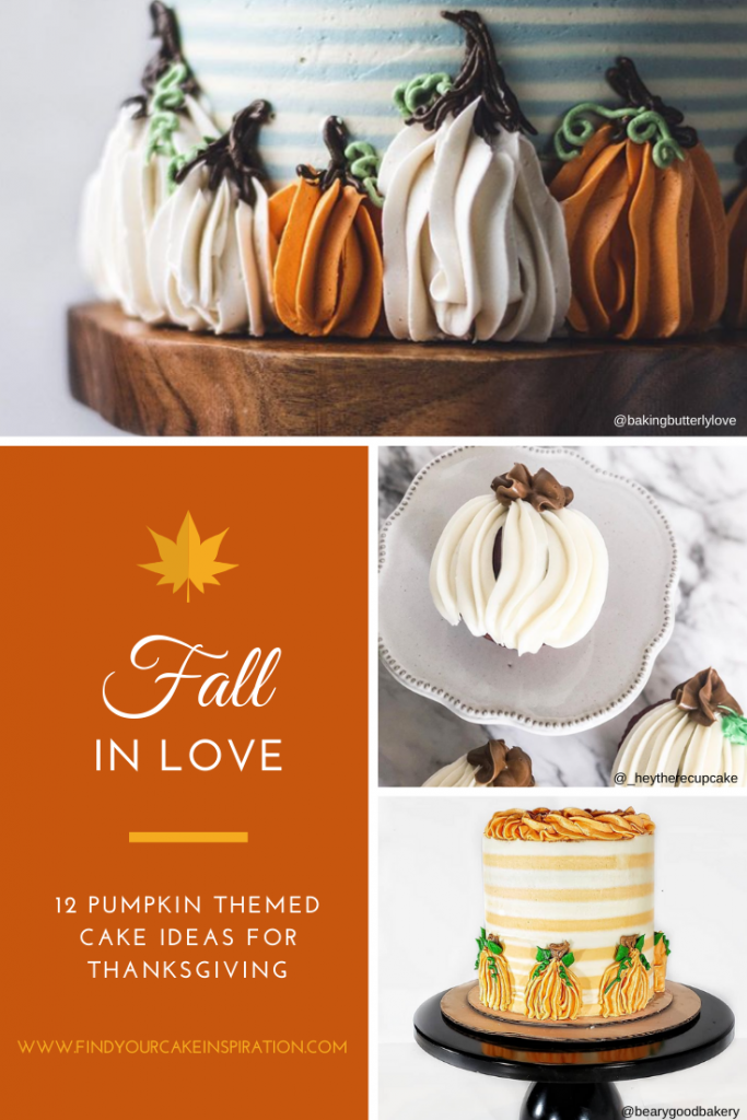 12 Cute Pumpkin Themed Cake Decorating Ideas for Fall and Thanksgiving using the easy 1M tip.