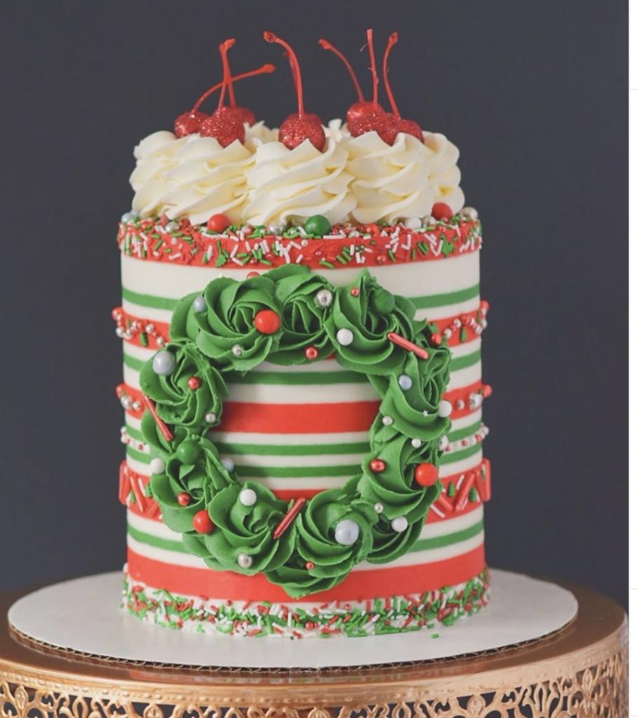 Festive Wreath Striped Cake