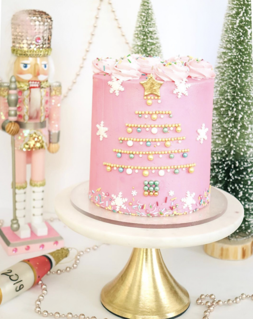 Gold Dragee Christmas Tree Cake
