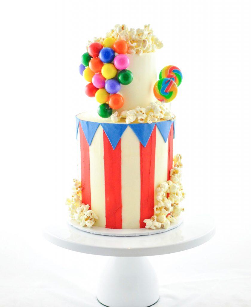 Bubble Gum & Popcorn Carnival Cake